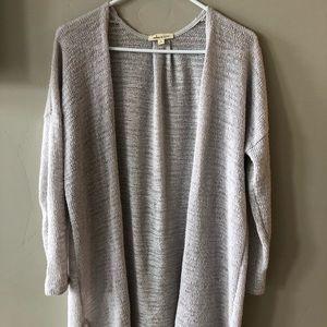 Long grey, purple sweater